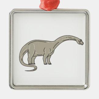 Ornamento De Metal Dinossauro do Brontosaurus que olha abaixo da mono