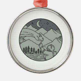Ornamento De Metal Do círculo tocante do Brontosaurus do astronauta