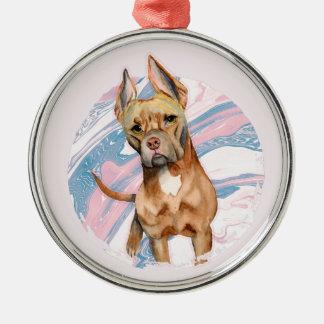 """Ornamento De Metal Do """"pintura da aguarela do cão do pitbull das"""