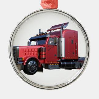 Ornamento De Metal Do vermelho caminhão metálico de Traler do trator