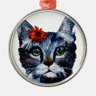 Ornamento De Metal Doce de fruta, o gato bonito que veste uma flor
