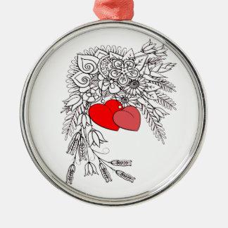 Ornamento De Metal Dois corações 2