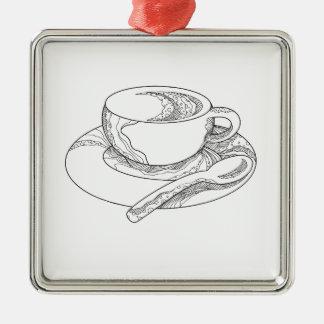 Ornamento De Metal Doodle da chávena de café