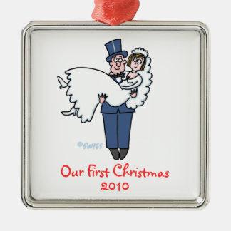 Ornamento De Metal Dos Newlyweds primeiros do Natal desenhos animados