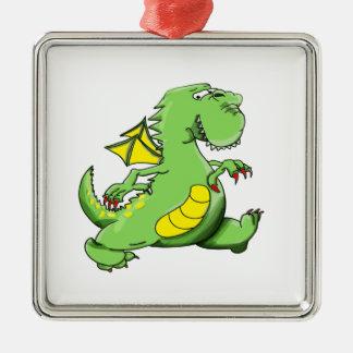 Ornamento De Metal Dragão verde dos desenhos animados que anda em