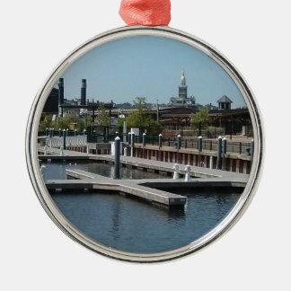 Ornamento De Metal Dubuque, porto do gelo de Iowa, rio Mississípi