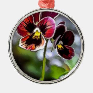 Ornamento De Metal Duo da flor do amor perfeito do Bordéus