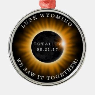 Ornamento De Metal Eclipse solar das recordações redondas dos