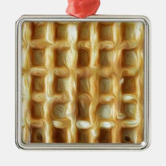 Ornamento De Metal Efeito da pintura de óleo do Waffle