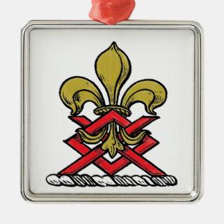 Ornamento De Metal Emblema heráldico vermelho da flor de lis da