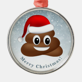 Ornamento De Metal emoji do poo do Natal com chapéu do papai noel