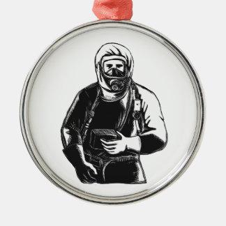 Ornamento De Metal EMT que veste o terno Scratchboard de Hazmat