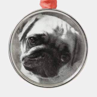 Ornamento De Metal Esboço do cão de filhote de cachorro do Pug