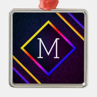 Ornamento De Metal Esboços à moda do roxo & do arco-íris com