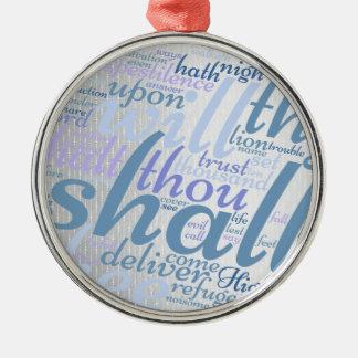 Ornamento De Metal Escritura cristã do salmo 91 do Natal