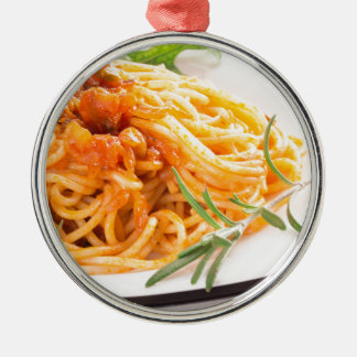 Ornamento De Metal Espaguetes italianos com o close up vegetal do