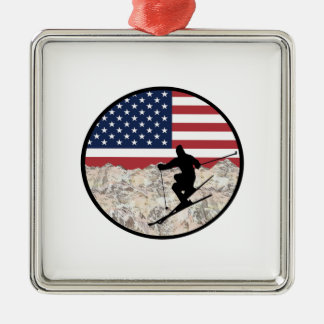 Ornamento De Metal Esqui América
