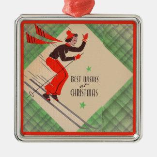 Ornamento De Metal esquiador do Natal dos anos 50