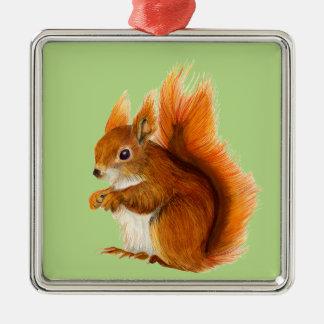 Ornamento De Metal Esquilo vermelho pintado na arte dos animais