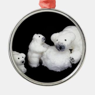 Ornamento De Metal Estatuetas da família dos ursos polares que jogam