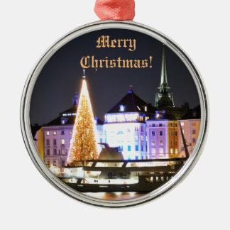 Ornamento De Metal Éstocolmo, suecia no Natal na noite