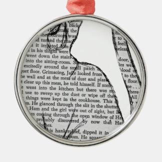 Ornamento De Metal etiqueta do livro de leitura do gato