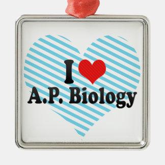 Ornamento De Metal Eu amo A.P. Biologia