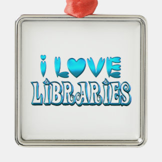 Ornamento De Metal Eu amo bibliotecas
