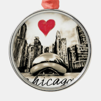 Ornamento De Metal Eu amo Chicago