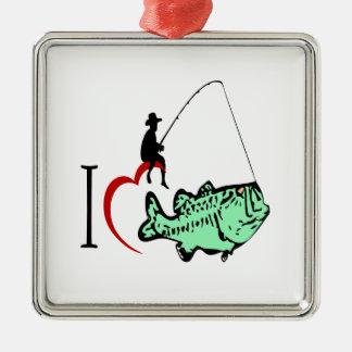 Ornamento De Metal Eu amo ir pescar com um coração vermelho