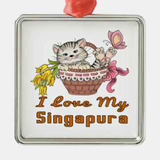 Ornamento De Metal Eu amo meu Singapura
