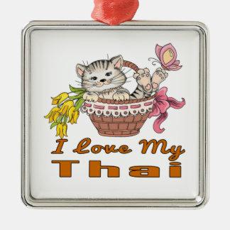 Ornamento De Metal Eu amo meu tailandês