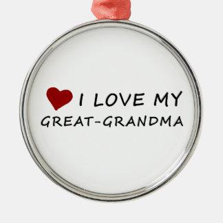Ornamento De Metal Eu amo minha Excelente-Avó com coração