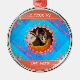 Ornamento De Metal Eu amo minha foto dos ratos do animal de estimação