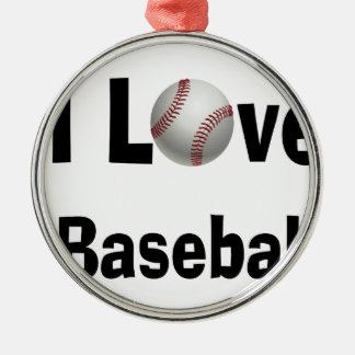 Ornamento De Metal Eu amo o basebol