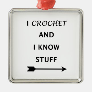 Ornamento De Metal Eu Crochet e eu sei o material