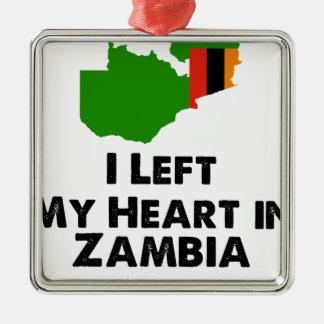 Ornamento De Metal Eu deixei meu coração na Zâmbia
