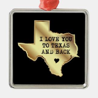 Ornamento De Metal Eu te amo a Texas e preto e ouro da parte traseira