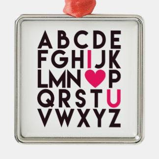 Ornamento De Metal EU TE AMO - alfabeto romântico