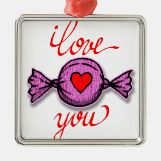 Ornamento De Metal Eu te amo (doces cor-de-rosa)