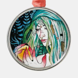Ornamento De Metal Evergreen - retrato da aguarela