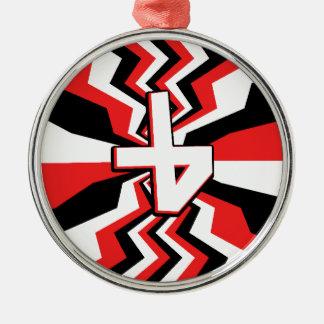 Ornamento De Metal Explosão vermelha, preta, & branca do ziguezague