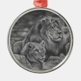 Ornamento De Metal Família do leão