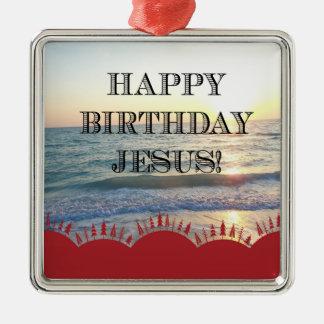 Ornamento De Metal Feliz aniversario Jesus sobre o oceano