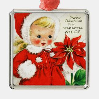 Ornamento De Metal Feliz Natal a um caro Pequeno Sobrinha