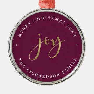 Ornamento De Metal Feliz Natal roxo Glam dourado da alegria |