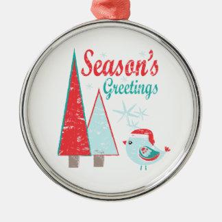 Ornamento De Metal Feriado das árvores & do pássaro de Natal dos