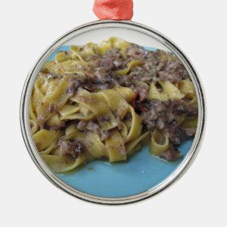 Ornamento De Metal Fettuccine ou massa fresca italiana do tagliatelle