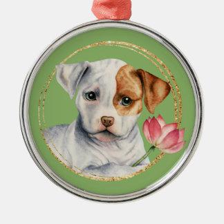 Ornamento De Metal Filhote de cachorro que guardara a flor de Lotus