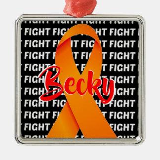 Ornamento De Metal Fita da laranja da esclerose múltipla da luta